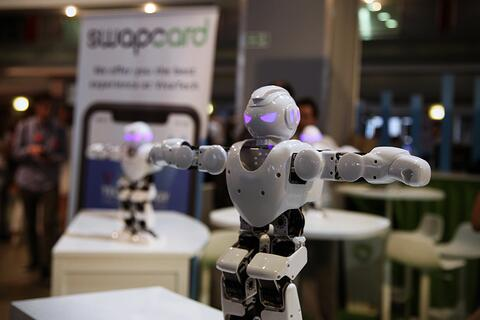 A dancing robots demo at Swapcard's booth at Viva Tech 2018